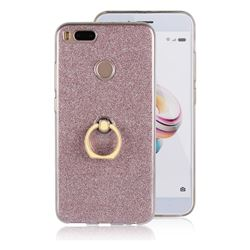 Luxury Soft TPU Glitter Back Ring Cover with 360 Rotate Finger Holder Buckle for Xiaomi Mi A1 / Mi 5X- Pink