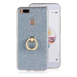 Luxury Soft TPU Glitter Back Ring Cover with 360 Rotate Finger Holder Buckle for Xiaomi Mi A1 / Mi 5X- Blue