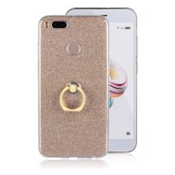Luxury Soft TPU Glitter Back Ring Cover with 360 Rotate Finger Holder Buckle for Xiaomi Mi A1 / Mi 5X- Golden
