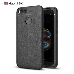 Luxury Auto Focus Litchi Texture Silicone TPU Back Cover for Xiaomi Mi A1 / Mi 5X - Black