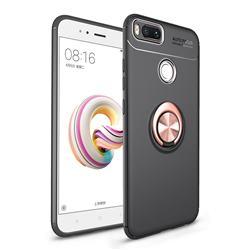Auto Focus Invisible Ring Holder Soft Phone Case for Xiaomi Mi A1 / Mi 5X - Black Gold