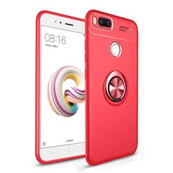 Auto Focus Invisible Ring Holder Soft Phone Case for Xiaomi Mi A1 / Mi 5X - Red