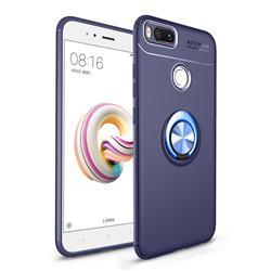 Auto Focus Invisible Ring Holder Soft Phone Case for Xiaomi Mi A1 / Mi 5X - Blue
