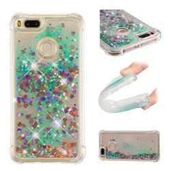 Dynamic Liquid Glitter Sand Quicksand TPU Case for Xiaomi Mi A1 / Mi 5X - Green Love Heart