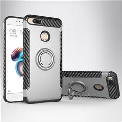Armor Anti Drop Carbon PC + Silicon Invisible Ring Holder Phone Case for Xiaomi Mi A1 / Mi 5X - Silver