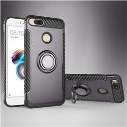 Armor Anti Drop Carbon PC + Silicon Invisible Ring Holder Phone Case for Xiaomi Mi A1 / Mi 5X - Grey