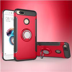 Armor Anti Drop Carbon PC + Silicon Invisible Ring Holder Phone Case for Xiaomi Mi A1 / Mi 5X - Red