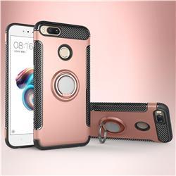 Armor Anti Drop Carbon PC + Silicon Invisible Ring Holder Phone Case for Xiaomi Mi A1 / Mi 5X - Rose Gold