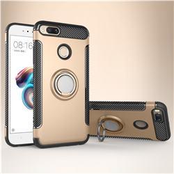 Armor Anti Drop Carbon PC + Silicon Invisible Ring Holder Phone Case for Xiaomi Mi A1 / Mi 5X - Champagne