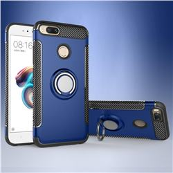 Armor Anti Drop Carbon PC + Silicon Invisible Ring Holder Phone Case for Xiaomi Mi A1 / Mi 5X - Sapphire