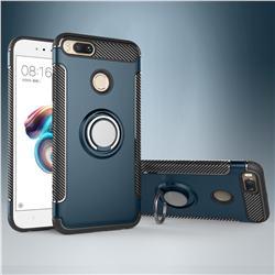 Armor Anti Drop Carbon PC + Silicon Invisible Ring Holder Phone Case for Xiaomi Mi A1 / Mi 5X - Navy