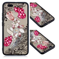 Tulip Lace Diamond Flower Soft TPU Back Cover for Xiaomi Mi A1 / Mi 5X