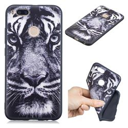 White Tiger 3D Embossed Relief Black TPU Cell Phone Back Cover for Xiaomi Mi A1 / Mi 5X