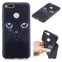 Bearded Feline 3D Embossed Relief Black TPU Cell Phone Back Cover for Xiaomi Mi A1 / Mi 5X