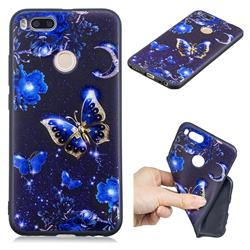Phnom Penh Butterfly 3D Embossed Relief Black TPU Cell Phone Back Cover for Xiaomi Mi A1 / Mi 5X