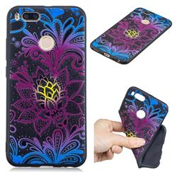 Colorful Lace 3D Embossed Relief Black TPU Cell Phone Back Cover for Xiaomi Mi A1 / Mi 5X