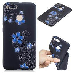 Little Blue Flowers 3D Embossed Relief Black TPU Cell Phone Back Cover for Xiaomi Mi A1 / Mi 5X