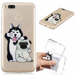 Selfie Dog Clear Varnish Soft Phone Back Cover for Xiaomi Mi A1 / Mi 5X