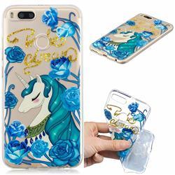 Blue Flower Unicorn Clear Varnish Soft Phone Back Cover for Xiaomi Mi A1 / Mi 5X
