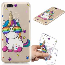 Glasses Unicorn Clear Varnish Soft Phone Back Cover for Xiaomi Mi A1 / Mi 5X