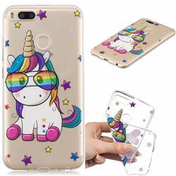 Glasses Unicorn Clear Varnish Soft Phone Back Cover for Xiaomi Mi A1 / Mi 5X