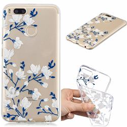 Magnolia Flower Clear Varnish Soft Phone Back Cover for Xiaomi Mi A1 / Mi 5X