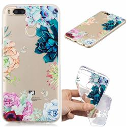 Gem Flower Clear Varnish Soft Phone Back Cover for Xiaomi Mi A1 / Mi 5X