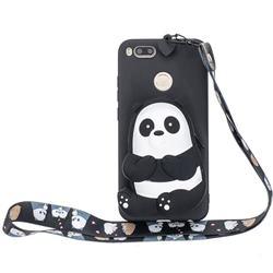 Cute Panda Neck Lanyard Zipper Wallet Silicone Case for Xiaomi Mi A1 / Mi 5X