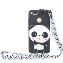 White Panda Neck Lanyard Zipper Wallet Silicone Case for Xiaomi Mi A1 / Mi 5X