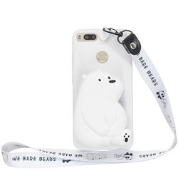 White Polar Bear Neck Lanyard Zipper Wallet Silicone Case for Xiaomi Mi A1 / Mi 5X