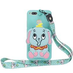 Blue Elephant Neck Lanyard Zipper Wallet Silicone Case for Xiaomi Mi A1 / Mi 5X