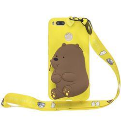 Yellow Bear Neck Lanyard Zipper Wallet Silicone Case for Xiaomi Mi A1 / Mi 5X