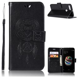 Intricate Embossing Owl Campanula Leather Wallet Case for Xiaomi Mi A1 / Mi 5X- Black