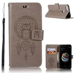 Intricate Embossing Owl Campanula Leather Wallet Case for Xiaomi Mi A1 / Mi 5X- Grey