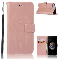 Intricate Embossing Owl Campanula Leather Wallet Case for Xiaomi Mi A1 / Mi 5X- Rose Gold