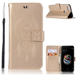Intricate Embossing Owl Campanula Leather Wallet Case for Xiaomi Mi A1 / Mi 5X- Champagne