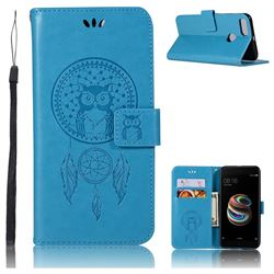 Intricate Embossing Owl Campanula Leather Wallet Case for Xiaomi Mi A1 / Mi 5X- Blue
