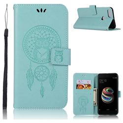 Intricate Embossing Owl Campanula Leather Wallet Case for Xiaomi Mi A1 / Mi 5X- Green