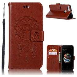 Intricate Embossing Owl Campanula Leather Wallet Case for Xiaomi Mi A1 / Mi 5X- Brown