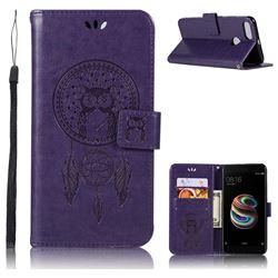 Intricate Embossing Owl Campanula Leather Wallet Case for Xiaomi Mi A1 / Mi 5X- Purple