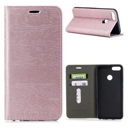 Tree Bark Pattern Automatic suction Leather Wallet Case for Xiaomi Mi A1 / Mi 5X- Rose Gold