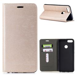 Tree Bark Pattern Automatic suction Leather Wallet Case for Xiaomi Mi A1 / Mi 5X- Champagne Gold