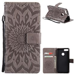 Embossing Sunflower Leather Wallet Case for Xiaomi Mi A1 / Mi 5X- Gray