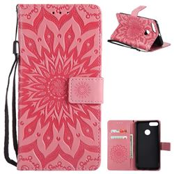 Embossing Sunflower Leather Wallet Case for Xiaomi Mi A1 / Mi 5X- Pink