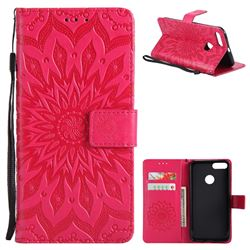 Embossing Sunflower Leather Wallet Case for Xiaomi Mi A1 / Mi 5X- Red