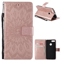 Embossing Sunflower Leather Wallet Case for Xiaomi Mi A1 / Mi 5X- Rose Gold