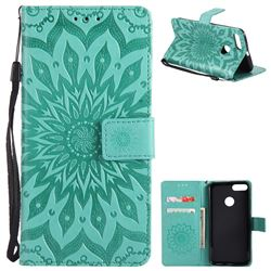 Embossing Sunflower Leather Wallet Case for Xiaomi Mi A1 / Mi 5X- Green
