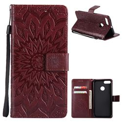 Embossing Sunflower Leather Wallet Case for Xiaomi Mi A1 / Mi 5X- Brown