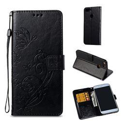 Embossing Butterfly Flower Leather Wallet Case for Xiaomi Mi A1 / Mi 5X - Black