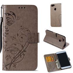 Embossing Butterfly Flower Leather Wallet Case for Xiaomi Mi A1 / Mi 5X - Grey